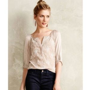 Tiny Embroidered Henley Top